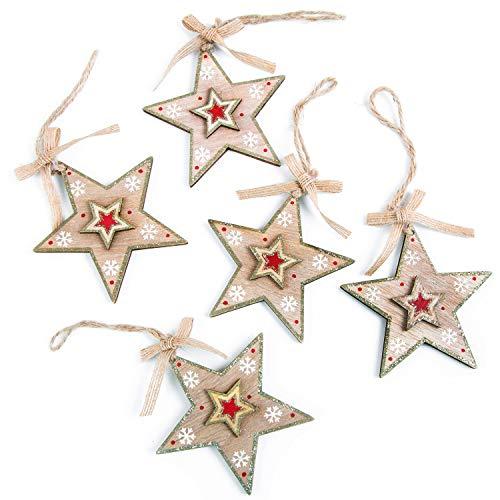 Logbuch-Verlag 5 Sterne Anhänger Weihnachtsanhänger aus Holz natur rot gold glitzernd - natürliche Sternanhänger Deko Weihnachten Weihnachtsbaumanhänger
