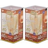【2個セット】LEDフィラメント電球 レトロ風琥珀調ガラス製 40形相当 キャンドル色
