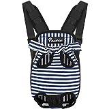 Pawaboo Mochila del Perro - Adjustable Bolsa Delantera Pet Front Cat Dog Carrier Backpack/Piernas Afuera & Fácil de Ajustar para Viajar/Senderismo/Camping, Talla L - Rayas de Azules y Blancas