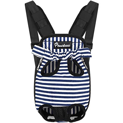 Pawaboo Pet Carrier Backpack, Adjustable Pet Front Cat Dog Carrier Backpack Travel Bag, Legs Out, Easy-Fit for Traveling Hiking Camping for Small Medium Dogs, Large Size, Blue and White Stripes