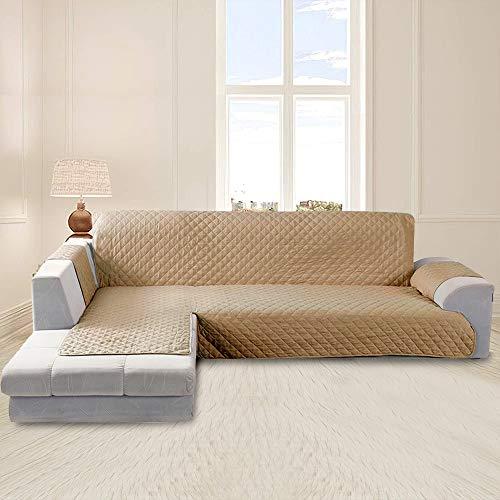 Funda Cubre Sofá Impermeable Funda Sofa Chaise Longue Protector para Sofás Diseño de Doble Cara con Chaise Longue Acolchada en Esquina para el Sofá en Forma de L Pelusa Antiadherente(Camello, 200cm)