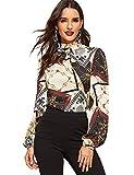 Romwe Women's Elegant Printed Stand Collar Long Sleeve Workwear Blouse Top Shirts Black Chain Print L
