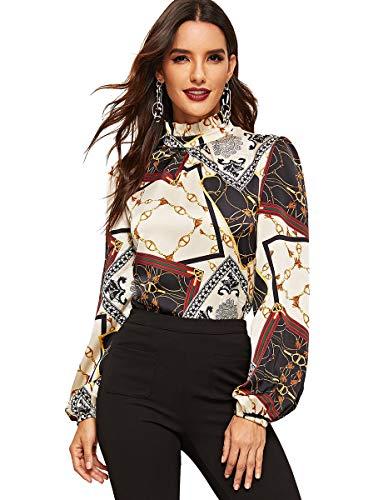 ROMWE Women's Elegant Printed Stand Collar Long Sleeve Workwear Blouse Top Shirts Black Chain Print XL