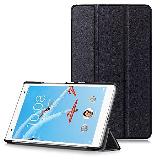 Lenovo Tab4 8 Plus Hülle - Ultra Dünn PU Leder Schutzhülle mit Standfunktion und Auto Aufwachen/Schlaf Funktion für Lenovo Tab4 8 Plus 20,32 cm (8 Zoll Full HD IPS Touch) Tablet-PC, Schwarz