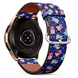 R-Rong kompatibel Watch Armband, Echtes Leder Uhrenarmband f¨¹r Samsung Galaxy Watch 42MM - Cute Cats Ballerinas