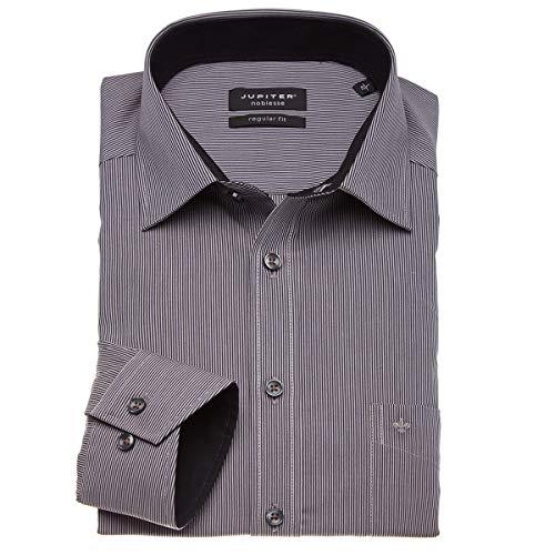 Jupiter Hemd Übergrößen Herren Fein gestreiftes Businesshemd mit langem Arm anthrazit_267 3XL