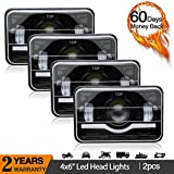 LED Rectangular Headlight Projector 4x6 inch 4pcs Sealed Beam Replacement Hi/Lo Beam DRL Fits Headlamp Bulb for Wrangler, T001N-4pcs, Colight