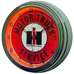 INTERNATIONAL Harvester IH Motor Truck Service Sign Neon Clock