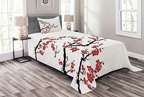 Lunarable Japanische Tagesdecke, Simplistic Cherry Blossom Tree Botanic Muster frische organische Linien, dekoratives gestepptes 2-teiliges Bettbezug-Set mit Kissenbezug, Twin Size, Zimtrot