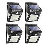 JUNERAIN 4pcs Solar Lamp Waterproof Motion Sensor Outdoor Garden Wall Light (40LED)