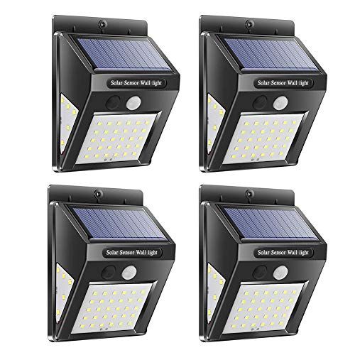 JUNERAIN Solar Lamps Waterproof PIR Motion Sensor Outdoor Garden Security Wall Light 40led(4pcs)