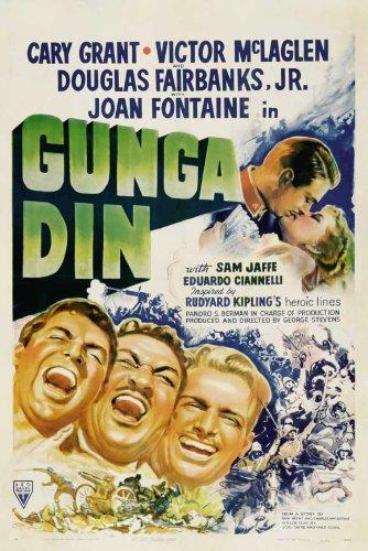 Gunga Din POSTER Movie (1939) Style E 27 x 40 Inches - 69cm x 102cm (Cary Grant)(Victor McLaglen)(Douglas Fairbanks Jr.)(Sam Jaffe)(Eduardo Ciannelli)(Montagu Love)(Joan Fontaine)