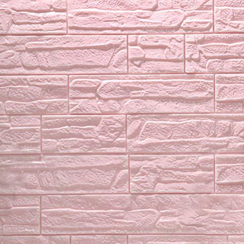 Momangel - Adhesivo decorativo para pared, diseño de ladrillo 3D de espuma de polietileno, para decoración de azulejos, cocina, sala de estar, baño, anticolisión 70cm x 38.5cm rosa