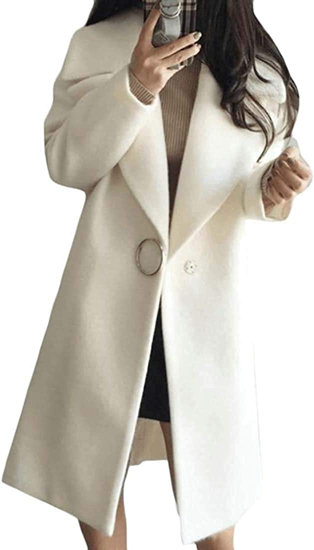 Andrea Spence Women Lapel Wool Blend Outwear Coat Mid Long Jacket Pea Coat