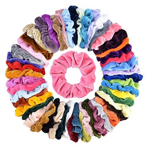 Autman 50 Colori Capelli Scrunchies Velluto Elastico Fasce Cravatte Corde Morbido Accessori Per Capelli Per Donne Ragazze Con Borsa