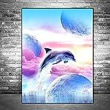 FHGFB 5D DIY「Delfín de fantasía」Kit Ricamo Diamante per Numero,Punto Cruz una Imagen Mosaico Diamantes imitación Diamond Embroidery,decoración del hogar decoración Obra 40x55cm