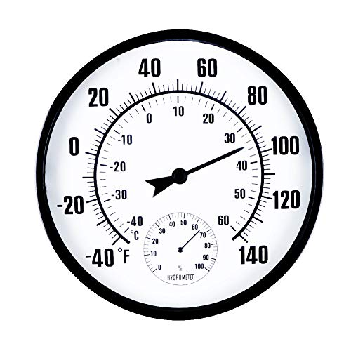 Photo of Room Thermometer Indoor Outdoor Thermometers Hygrometer Monitor Temperature and Humidity Meter for Home Office Greenhouse Baby Nursery Comfort 10″ in Diameter
