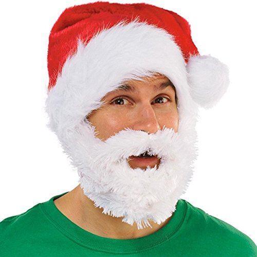 amscan 391312 Red Velour Santa Hat with White Plush Full Beard in One