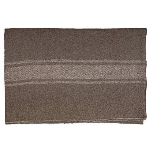 Italian Style Army Blanket, Mil-Spec, 66 in x 90 in, Wool Blend, Flame Retardant, Grey