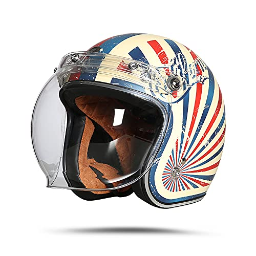 LIONCIANO Casco De Moto Jet Abierto Dot/Ece Homologado, Casco Moto De Scooter, Cabeza Anticolisión De Casco para Mujer Hombre Adultos con Visera(Sueño De California Blanco Marfil, L56-57cm)