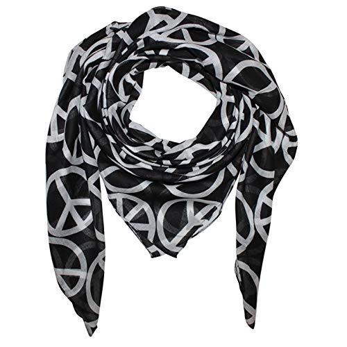 Superfreak Baumwolltuch - Peace Muster 10 cm schwarz - weiß - quadratisches Tuch