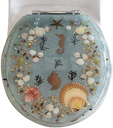 """Daniel's Bath & Beyond Polyresin Round Seahorse Toilet Seat, 17"""", Aqua"""