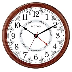 Bulova Daily Wall Clock, 18, Brown Cherry