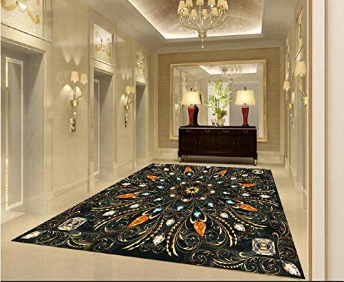 Vinilo autoadhesivo a prueba de agua papel tapiz de piso 3d patrón creativo azulejos de piso 3d pintura al óleo wallpaper-430 * 300cm
