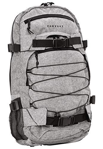 FORVERT Melange Louis Unisex Backpack,Daypack,Rucksack,Hauptfach,3 weitere Fächer,Boardcatcher,gepolstert,verstellbare Träger,Grey Melange,one Size