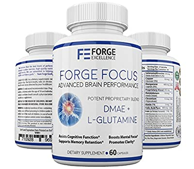 Forge Focus Advanced Brain Performance Supplement - Potent DMAE + L-Glutamine Dietary Supplement - Multivitamin & Mineral Rich Formula - Boosts Cognitive Function & Clarity - 60 Caps