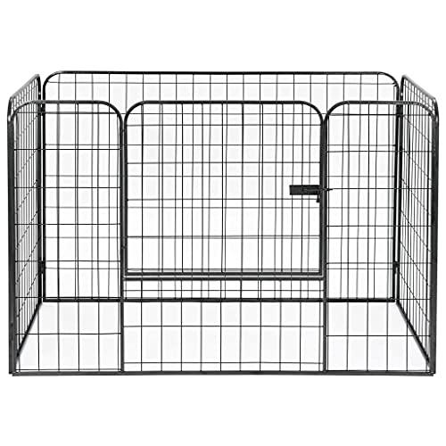 Ksodgun Corralito para Perros de Alta Resistencia Negro 120x80x70 cm Acero, Plegable de Metal para Mascotas y corralito con Puerta