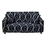 HOTNIU Stretch Sofa Cover Printed Couch Covers for 3 Cushion Couch Slipcovers for Sofas Loveseat Armchair Elastic Universal Furniture Protector with One Free Pillowcase (3 Seat, Black Leaves)