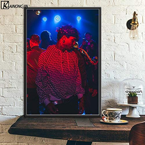 shuimanjinshan Posters and Prints Ski Mask and XXXtentacion Jahseh Dwayne Onfroy Art Silk Wall Poster Room Decorative Picture Home Decor 50x70cm No frame F470