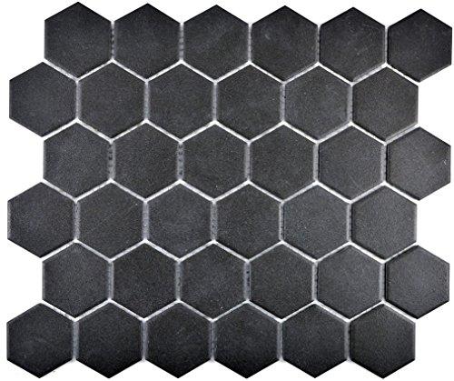 Mosaik Fliese Keramik Hexagon schwarz unglasiert für BODEN WAND BAD WC DUSCHE KÜCHE FLIESENSPIEGEL THEKENVERKLEIDUNG BADEWANNENVERKLEIDUNG Mosaikmatte Mosaikplatte 1 Matte