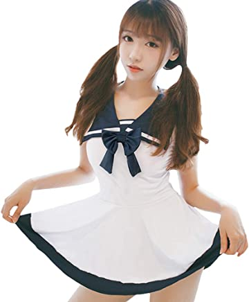 9e1994128 YOMORIO Women Sexy Schoolgirl Lingerie Lolita Sailor Cosplay Uniform Japanese  Anime Student Dress