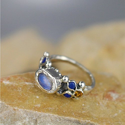 Handcrafted Artisan Rainbow Moonstone Lapis Citrine Engagement Ring in Sterling Silver -  Yifat Bareket