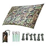 LOOGU Tarp Camouflage 1.5x2.2m Anti-Pluie Camping Rain Tente Bâche Portable Ripstop...