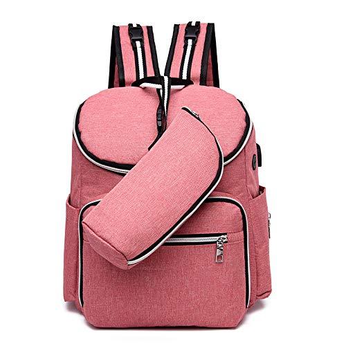 Mummy tas multifunctionele USB grote capaciteit moeder- en kind pakket moeder tas reizen rugzak Pink