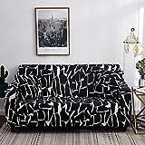 Funda de sofá elástica para sofá de 1, 2, 3 o 4 plazas, tela elástica estampada, funda ajustable universal para sillón y sofá, protector de muebles 2 Seater L-negro