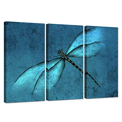 iHAPPYWALL 3 Pieces Canvas Wall Art Abstract Teal Blue Dragonfly Insects The Picture Animal Painting on Canvas Modern Home Office Wall Decoration Artwork Stretched and Framed Ready to Hang