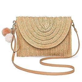 JOSEKO Sac d'été en paille tissée, sac de messager de loisirs et de vacances pour dames, sac à bandoulière de sortie à…