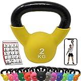 POWRX Kettlebell Neopren 2-26 kg inkl. Workout I Kugelhantel in