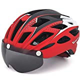 VICTGOAL 自転車 ヘルメット 大人用 LEDライト付きサイクルヘルメット 磁気ゴーグル 防虫ネット ロードバイクヘルメット 超軽量 高剛性 サイクリングヘルメット サイズ調整可能 男女兼用 自転車ヘルメット 57-61cm (新しい赤)