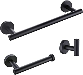 """KLXHOME Matte Black 3-Piece Bathroom Hardware Kit Set Stainless Steel Wall Mount - Includes 12"""" Towel Bar, Toilet Paper Ho..."""