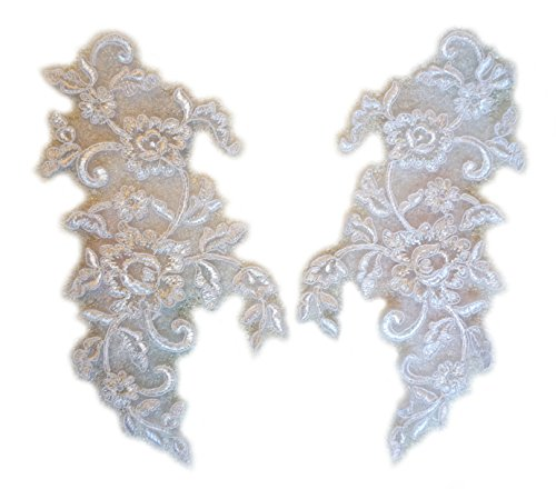 LIDA LYDI Dentelle de Calais rebrodée Blanche/Argent pour création Votre Robe de mariée, Vendre Une Paire.