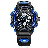 Hombres Mujeres Luminoso Función de Alarma de visualización de Calendario Verdaderos Segundos Disco diseño Multifuncional Reloj electrónico del Deporte con plástico Banda Reloj Blue