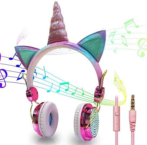 hyy Auricular con Cable Lindo Unicornio Auricular Plegable Ajustable En La Oreja para Niños Y Niñas para El Día del Niño/Fiesta/Regalo De Cumpleaños (Rosa)