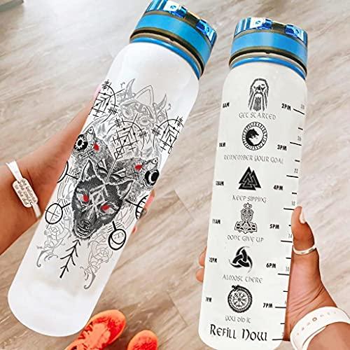 Hothotvery Botella deportiva con diseño vikingo Fenrir Wolf Skoll y corazón Fathurk, marcas de agua, sin BPA, 1 L, sin condensación, para fitness, color blanco, 1000 ml