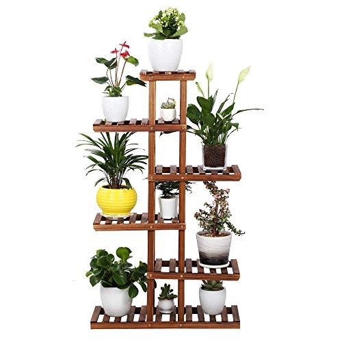 Plant Rack,Wooden Plant Stand Flower Pots Shelf,Garden Holder Display Shelf Balcony Flower Stand (D070)