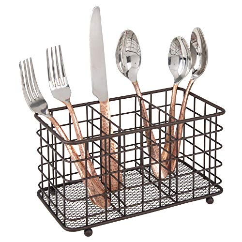 mDesign Besteckkorb aus Metall zur Besteckaufbewahrung – mit 3 Fächern für Besteck, Schwämme und Feuchtwischtuch – nützlicher Besteckkasten und Küchen Organizer – bronzefarben